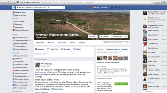 "Groupe de pèlerins anglophones sur Facebook : ""American Pilgrims on the Camino (APOC)"""