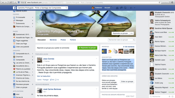 "Groupe de pèlerins lusophones sur Facebook :  : ""Caminho Português - Porto a Santiago de Compostela"""