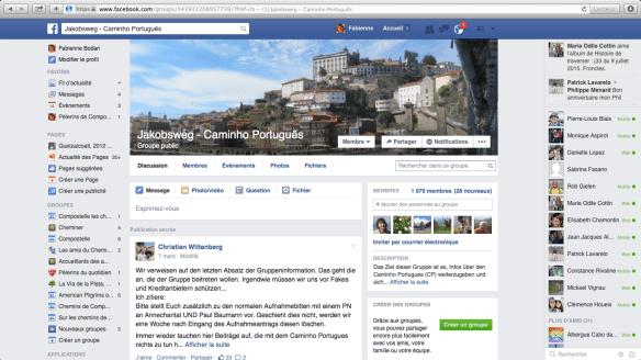 """Groupe de pèlerins germanophones sur Facebook : """"Jakobsweg - Caminho Português"""""""