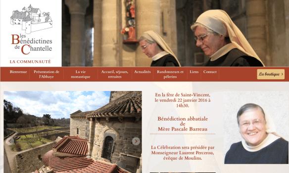 Capture d'écran du site de l'abbaye des Bénédictines de Chantelle
