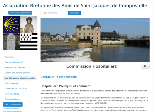Capture d'écran du site de l'Association Bretonne des Amis de Saint Jacques de Compostelle