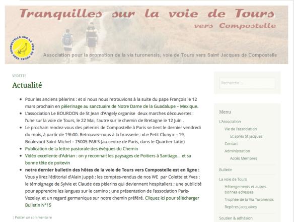 Capture d'écran du site Tranquilles sur la Voie de Tours, gestionnaire du gîte de Saint Sauvant