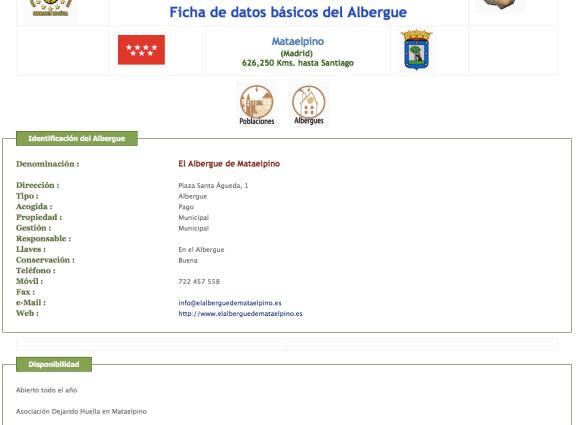 Exemple de fiche d'information sur les auberges du Chemin de Madrid © Site de la Fédération Espagnole des Associations des Amis des Chemins de Santiago