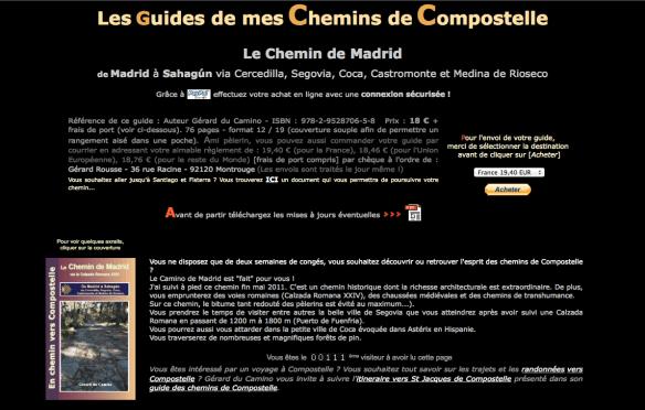 Capture d'écran du site de Gérard du Camino, auteur de guides en français sur de nombreux chemins en Espagne et en France