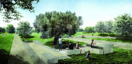 Le nouveau plan d'aménagement du parc du Monte de Gozo ou Mont de la Joie, 5 kilomètres avant Saint-Jacques de Compostelle