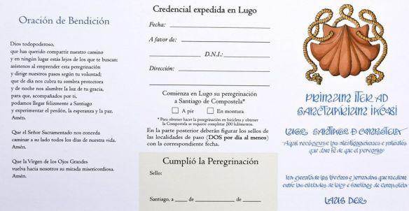 La nouvelle crédentiale du chemin au départ de Lugo