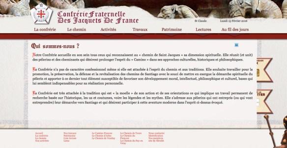 Capture d'écran du site internet de la Confrérie des Jacquets de France