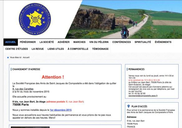 Capture d'écran du site internet de la Société Française des Amis de Saint-Jacques de Compostelle à Paris