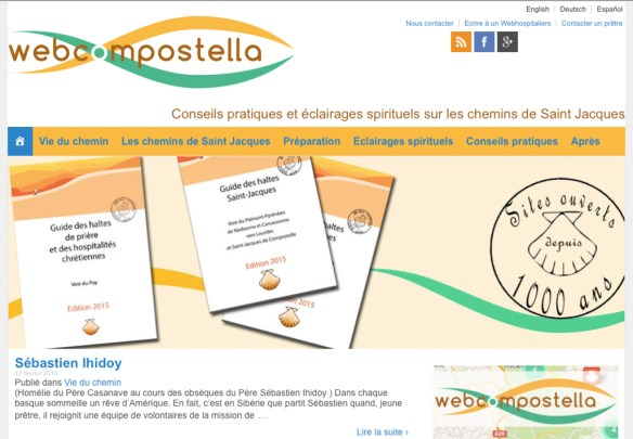 Capture d'écran du site internet de l'association Webcompostella