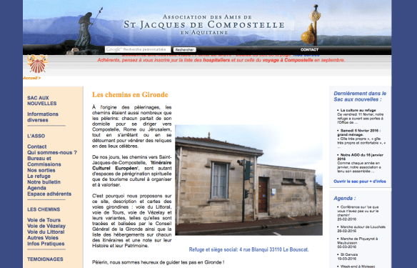 Capture d'écran du site internet de l'association des Amis de Saint-Jacques de Compostelle en Aquitaine