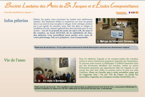 Capture d'écran du site internet de la société Société landaise des amis de Saint Jacques et d'Etudes Compostellanes