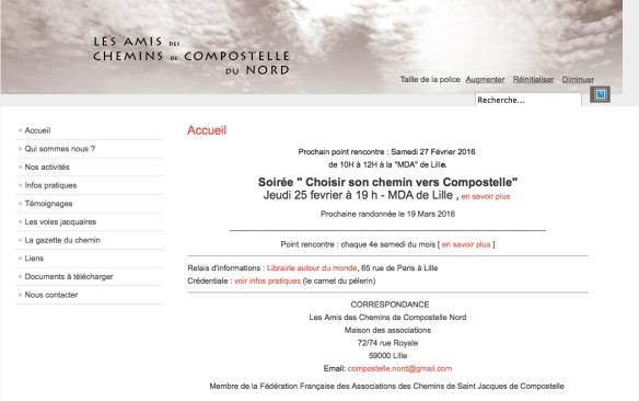 Capture d'écran du site de l'association Les Amis des Chemins de Compostelle Nord