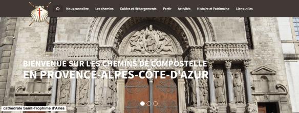 Capture d'écran du site internet de l'association PACA-Corse des amis des chemins de Saint Jacques de Compostelle et de Rome
