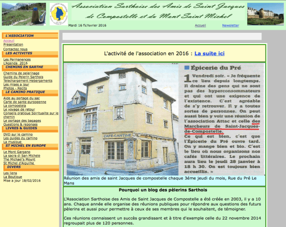 Capture d'écran du site internet de l'Association Sarthoise des Amis de Saint Jacques de Compostelle et du Mont Saint Michel