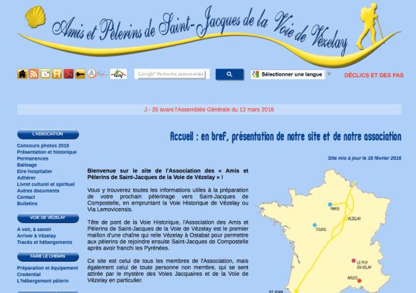 Capture d'écran de l'association des Amis et pèlerins de Saint-Jacques de la Voie de Vézelay