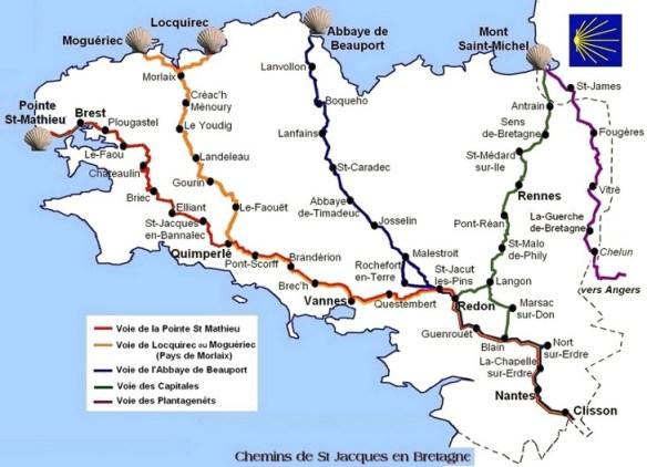 Carte chemins bretons Compostelle