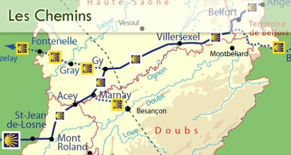 Les chemins en Franche-Comté
