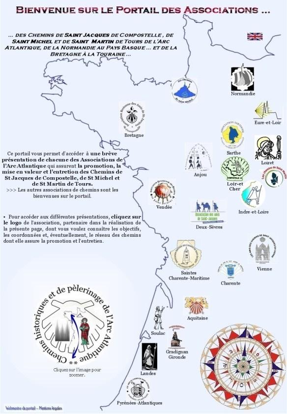Les associations jacquaires du portail de l'Arc atlantique. Source : site internet du portail.