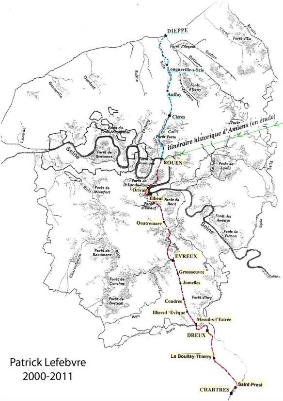 Itinéraire historique d'Amiens. Source : site internet de l'association Rouen-Chartres