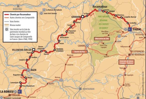 Carte de la variante de Rocamadour (280 kilomètres de Figeac à la Romieu). Source : site internet de Rocamino