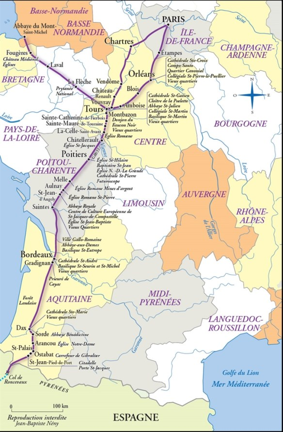Carte de la voie de Paris/Tours avec les lieux marquants. Source : portail internet Centre-Val-de-Loire.