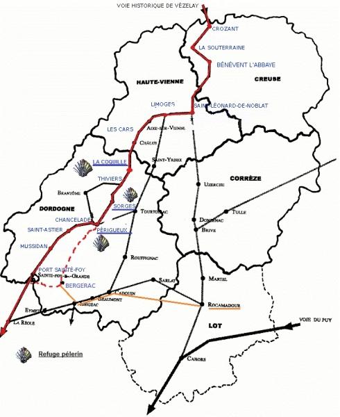 Carte des chemins de Saint-Jacques dans le Limousin-Périgord. Source : site internet de Capture d'écran du site internet de l'Association des amis et pèlerins de Saint Jacques et d'Etudes Compostellanes du Limousin Périgord