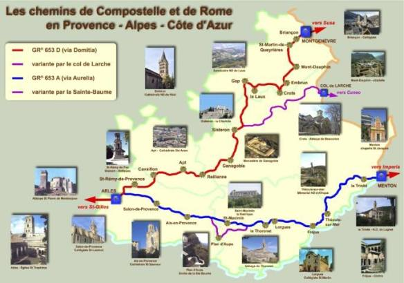 Carte des chemins de Compostelle et de Rome en Provence-Alpes-Côte-d'Azur. Source : site internet de l'association Capture d'écran du site internet de l'association Les Amis de Saint Jacques de Compostelle en Alpilles