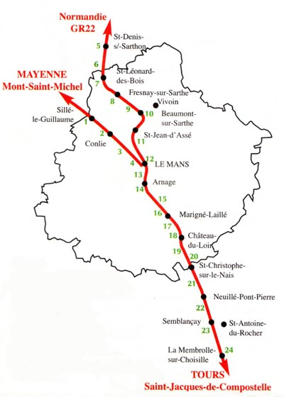 Les chemins de la Sarthe. Source d'information : site internet de l'Association Sarthoise des Amis de Saint Jacques de Compostelle et du Mont Saint Michel