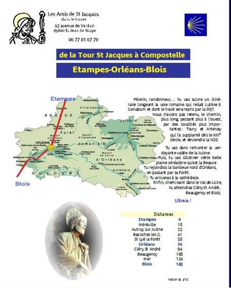 Carte des chemins de Compostelle dans le Loiret
