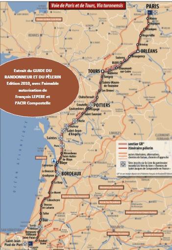 Carte de la voie de Tours. Source : site internet de l'association Tranquilles sur la Voie de Tours