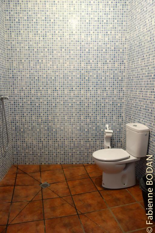 Au rez-de-chaussée, une autre salle de bain avec douche, WC, lavabo © Fabienne Bodan