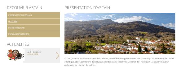 Capture d'écran du site internet de la commune d'Ascain