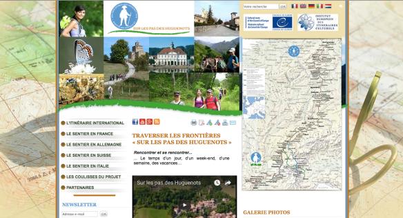 """Capture d'écran du site internet de l'itinéraire culturel européen """"Sur les pas des Huguenots et des Vaudois"""""""