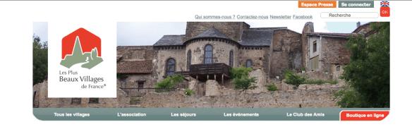 """Capture d'écran du site officiel des """"plus beaux villages de France"""""""