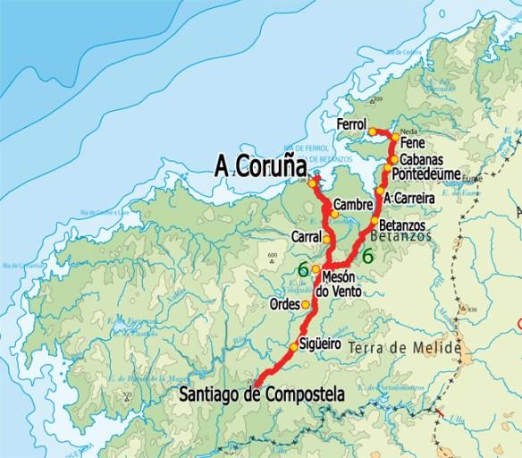 Carte du Camino inglés