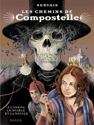 """Couverture de la bande-dessinée """"Les chemins de Compostelle (Tome 2), «L'ankou, le diable et la novice» de Jean-Claude Servais aux Editions Dupuis."""