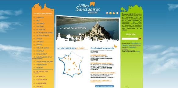 Capture d'écran du site internet des villes sanctuaires de France