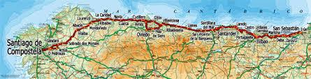 Carte du Camino del Norte. Source : site de la Fédération espagnole des amis de Santiago