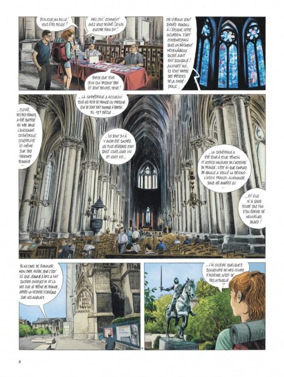 """Bande-dessinée """"Les chemins de Compostelle (Tome 3), Notre-Dame"""" de Jean-Claude Servais aux Editions Dupuis. Extrait."""