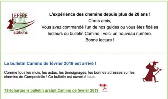 Bulletin Camino N° 183 - Février 2019