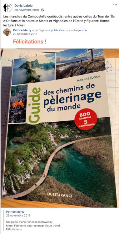 Doris Lajoie, créateur des parcours Tour de l'Île d'Orléans et Monts et Vignobles de l'Estrie - Québec et le Guide des chemins de pèlerinage du monde