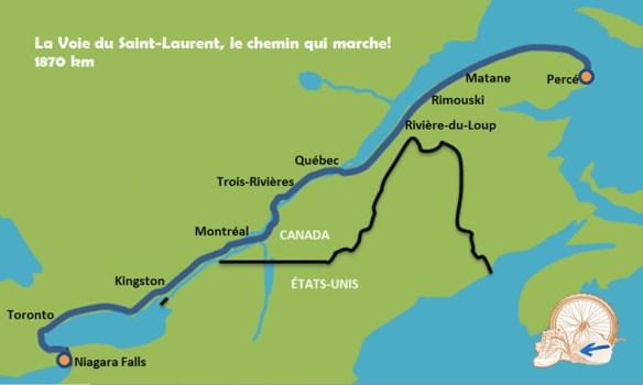 La voie du St-Laurent, Québec - carte complète