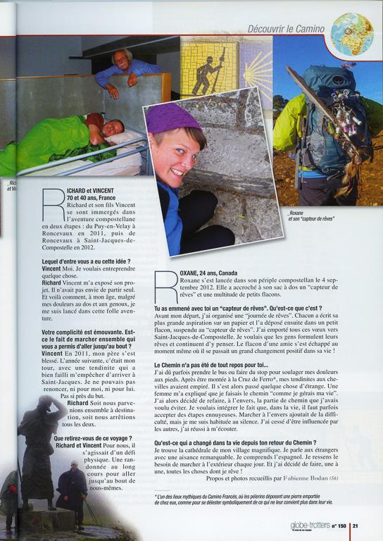 """Après un article intitulé """"La magie des chemins de Compostelle"""" dans le numéro 148, Globe-Trotters Magazine publie dans son numéro 150 une série de portraits de pèlerins rencontrés sur la voie du Puy et le Camino Francés en 2012. Page 2."""