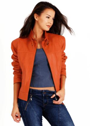 chaqueta de piel naranja mujer