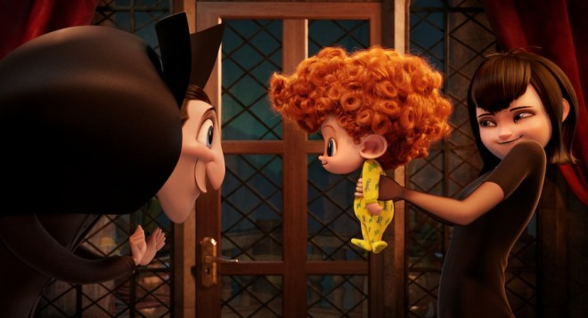 Dracula (Adam Sandler), Dennis (Asher Blinkoff) and Mavis (Selena Gomez) in Columbia Pictures and Sony Pictures Animation's HOTEL TRANSYLVANIA 2.