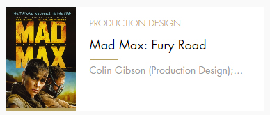 Production Design Mad Max