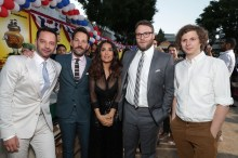"""Nick Kroll, Paul Rudd, Salma Hayek, Seth Rogen and Michael Cera seen at Columbia Pictures and AnnaPurna World Premiere of """"Sausage Party"""" on Tuesday, August 9, 2016, in Los Angeles."""
