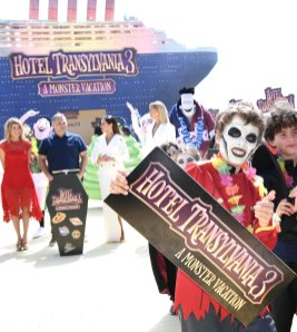 Director Genndy Tartakovsky and international voice cast cruise into the 71st Cannes Film Festival for a colourful photocall with monster characters from the movie to launch a sneak peek of 'Hotel Transylvania 3' at Carlton Beach on May 7, 2018 in Cannes, France.
