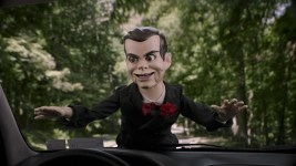 Slappy hangs on for dear life in Columbia Pictures' GOOSEBUMPS 2: HAUNTED HALLOWEEN.