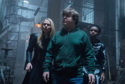 (l to r) Madison Iseman (Sarah), Jeremy Ray Taylor (Sonny) and Caleel Harris (Sam) star in Columbia Pictures' GOOSEBUMPS 2: HAUNTED HALLOWEEN.